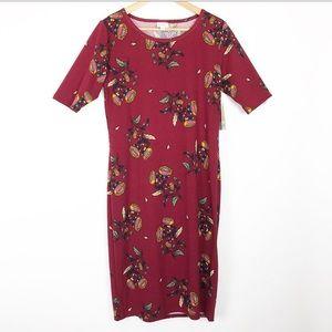 NWT Lularoe 'Julia' Maroon Floral Dress Size L